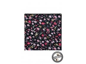 Černý bavlněný kapesníček s květy