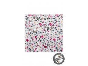 Smetanový bavlněný kapesníček s květy