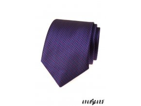 Tmavě modrá luxusní kravata s červeným vzorkem