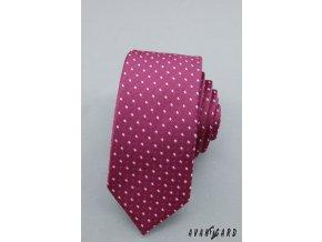 Fialová luxusní slim kravata se vzorem