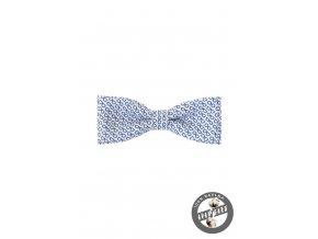 Bílý bavlněný pánský motýlek s modrým vzorem - Brýle (10 cm)