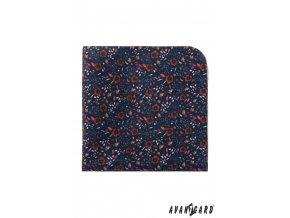 Tmavě modrý kapesníček s hnědými květy