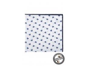 Bílý bavlněný kapesníček s modrým vzorem - Trojlístek