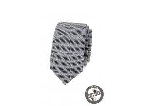 Šedá luxusní slim bavlněná kravata s mřížkou