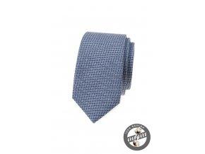 Modrá luxusní bavlněná slim kravata se vzorem