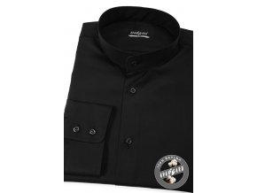 Černá pánská slim fit košile se stojáčkem, dl.rukáv, 152-23