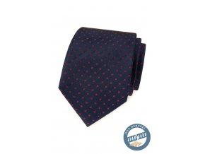 Velmi tmavě modrá hedvábná kravata s červeným vzorkem + dárková krabička