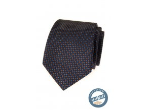 Velmi tmavě modrá hedvábná kravata s hnědým vzorkem + dárková krabička