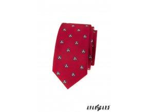 Červená slim kravata se vzorem - Fotbal
