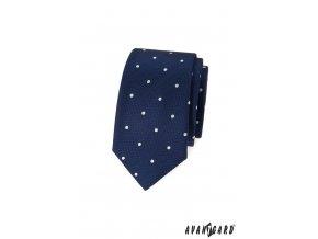 Tmavě modrá slim luxusní kravata s bílými puntíky
