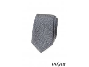Šedá žíhaná luxusní slim kravata