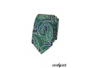 Zelená luxusní slim kravata s výrazným vzorem