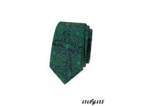 Zelená luxusní slim kravata s květovaným vzorem