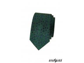 Zelená slim luxusní kravata s modrými květy