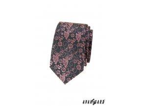 Tmavě šedá luxusní slim kravata s růžovým vzorem