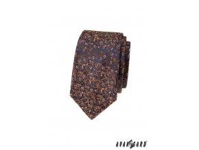 Hnědá luxusní slim kravata s květovaným vzorem