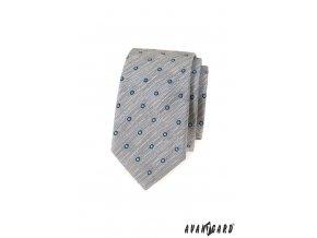 Světle šedá žíhaná luxusní slim kravata s modrými puntíky