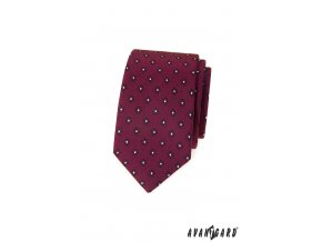 Bordó luxusní slim kravata se vzorem
