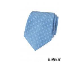 Světle modrá luxusní kravata se vzorkem