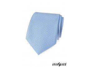 Světle modrá luxusní vroubkovaná kravata
