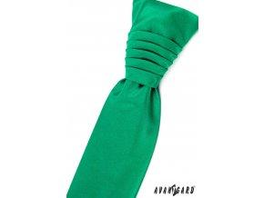 Smaragdová jemně lesklá jednobarevná pánská regata + kapesníček do saka