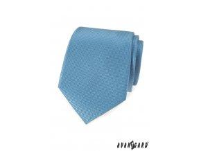 Světle modrá luxusní kravata s kostkovanou strukturou