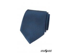 Modrá luxusní kravata s vroubkovanou strukturou