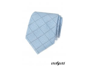 Světle modrá luxusní jemně károvaná kravata