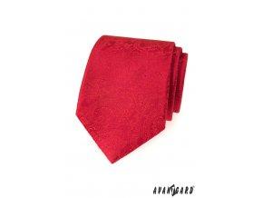 Červená luxusní kravata s nenápadným vzorem