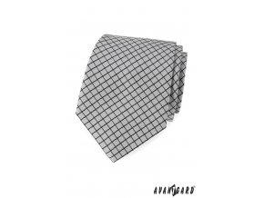 Šedá luxusní kravata s tmavou tenkou mřížkou
