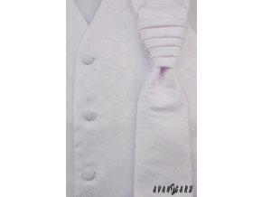 Bílá vesta se vzorem + regata + kapesníček