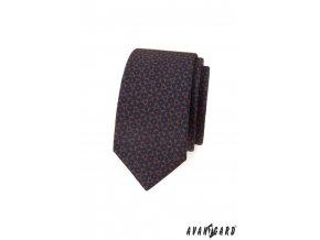 Tmavě modrá luxusní  matná slim kravata se vzorem