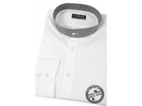 Bílá pánská klasická košile se stojáčkem, dl.rukáv, 452-0163