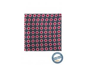Červenomodrý hedvábný kapesníček se vzorem