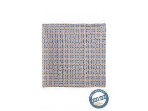 Béžový hedvábný kapesníček s modrým vzorem