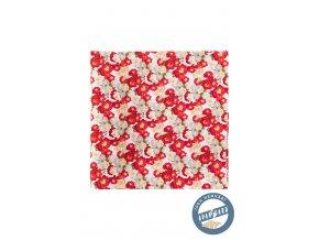 Červený hedvábný kapesníček s namalovanými květy