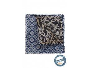 Modrošedý hedvábný kapesníček se vzorem