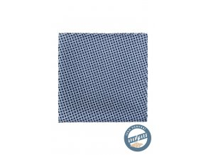 Modrý hedvábný kostkovaný kapesníček