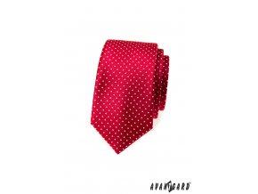 Červená slim luxusní slim kravata s bílým vzorkem