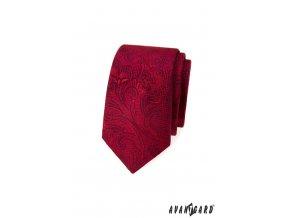 Červená luxusní slim vzorovaná kravata
