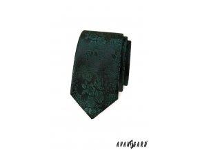 Tmavě zelená luxusní slim kravata s květovaným vzorem