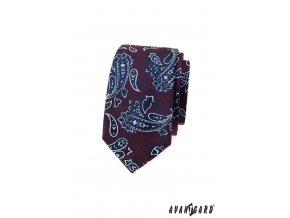 Bordó luxusní slim kravata s výrazným vzorem