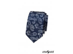 Modrá luxusní slim kravata se světlým vzorem