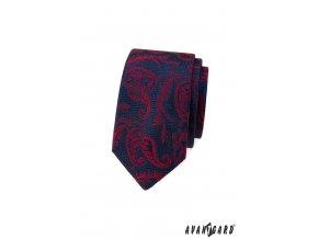 Tmavě modrá luxusní slim kravata s červeným vzorem