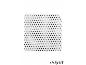 Bílý luxusní kapesníček s černými puntíky