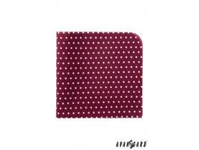 Bordó luxusní kapesníček s bílými puntíky