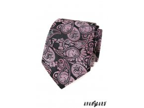Tmavě šedá luxusní kravata s růžovým vzorem