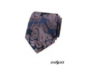 Tmavě šedá luxusní kravata se světle růžovým vzorem