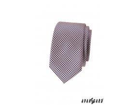 Světle pudrová luxusní slim kravata se šachovnicí