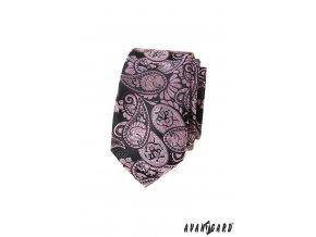 Tmavě šedá luxusní slim kravata s výrazným vzorem